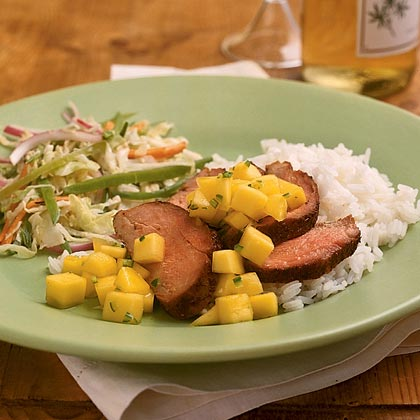 Spice-Rubbed Pork Tenderloin with Mango Sambal