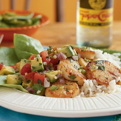 Citrus-Glazed Scallops with Avocado Salsa