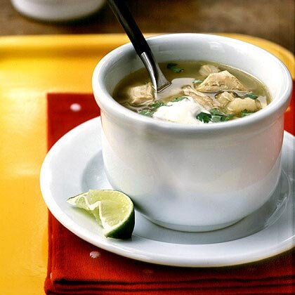 Posole (Tomatillo, Chicken, and Hominy Soup)