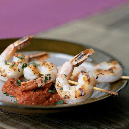 Grilled Shrimp Skewers with Romesco