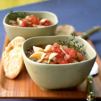 Tomato Garlic Soup with Parmesan Croutons