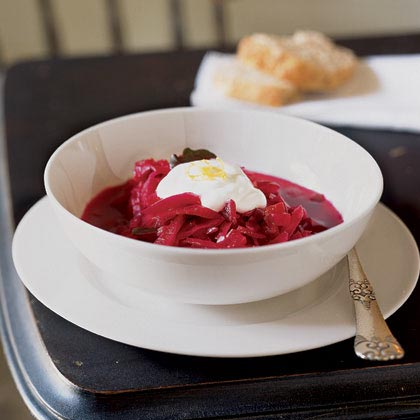 Sweet-and-Sour Beet, Cabbage, and Tomato Soup