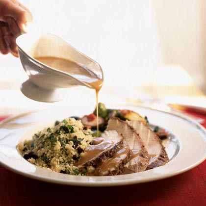 Tunisian-Spiced Turkey with Garlic Couscous and Harissa Gravy