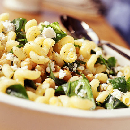 Cavatappi with Spinach, Garbanzo Beans, and Feta
