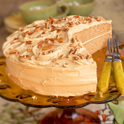 Oatmeal Layer Cake with Caramel-Pecan Frosting