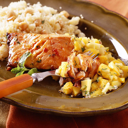 Moroccan Roasted Salmon with Mango Salsa
