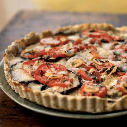 Eggplant, Tomato, and Smoked Mozzarella Tart