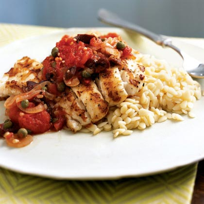 Grouper with Puttanesca Sauce