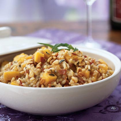 Risotto with Butternut Squash, Pancetta, and Jack Cheese
