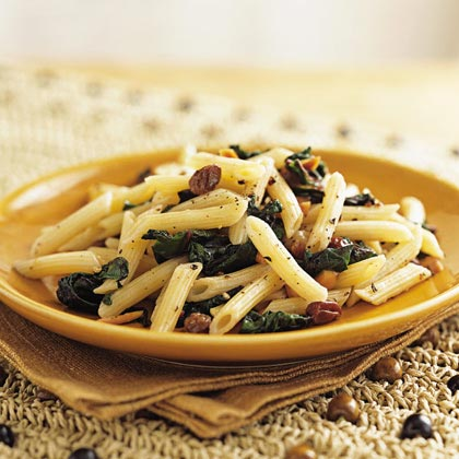 Pasta with Beet Greens and Raisins