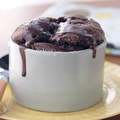 Double Chocolate Soufflés with Warm Fudge Sauce