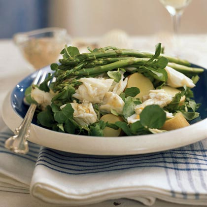 Spring Fingerling Potato Salad with Crab, Asparagus, and Watercress