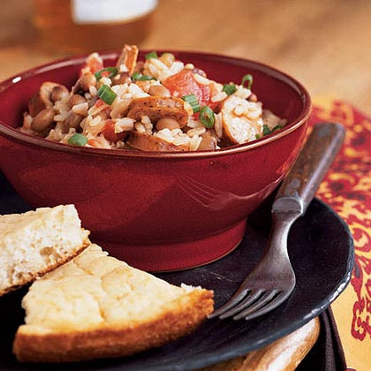 Black-Eyed Peas and Rice with Andouille Sausage