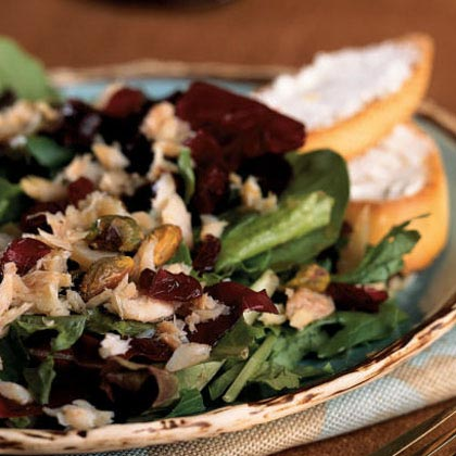 Mixed Greens Salad with Smoked Trout, Pistachios, and Cranberries