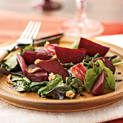 Roasted Beet and Shallot Salad over Wilted Beet Greens and Arugula