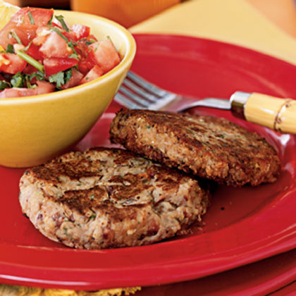 Black-Eyed Pea Patties with Garlic Pepper Salsa