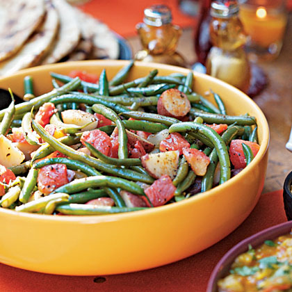 Green Beans and Potatoes in Chunky Tomato Sauce