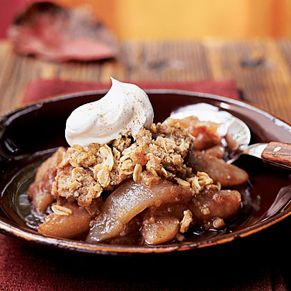 Red Wine Pear Crisp with Spiced Streusel