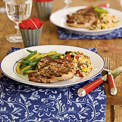 Grilled Pork Chops with Shallot Butter