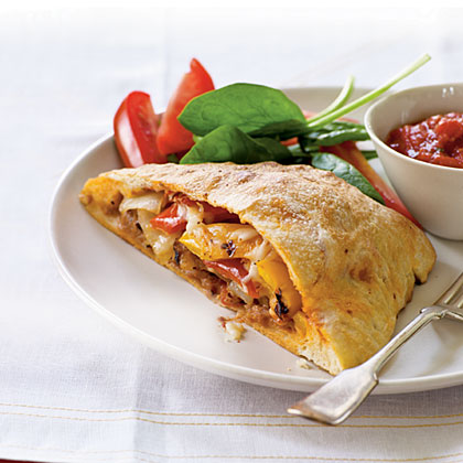 Grilled Pepper, Onion, and Sausage Calzones