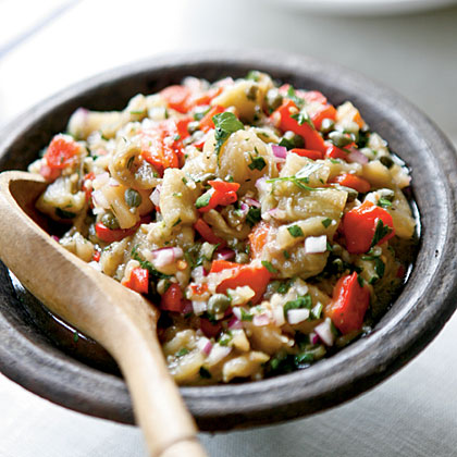 Eggplant with Capers and Red Peppers