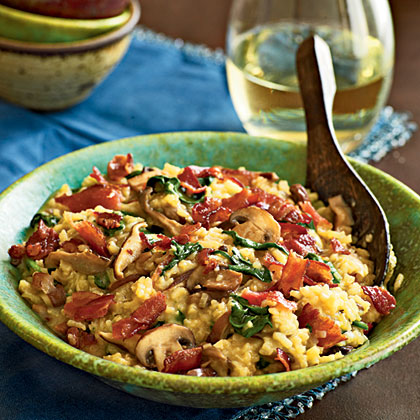 Bacon and Wild Mushroom Risotto with Baby Spinach