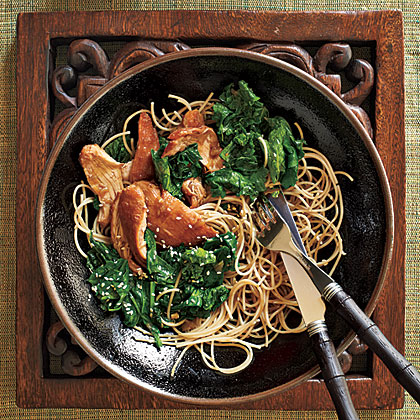 Honey-Wine Braised Chicken Thighs with Mustard Greens