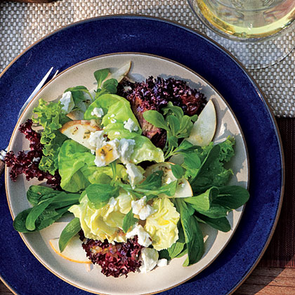 Mixed Lettuce, Pear, and Goat Cheese Salad with Citrus Dressing