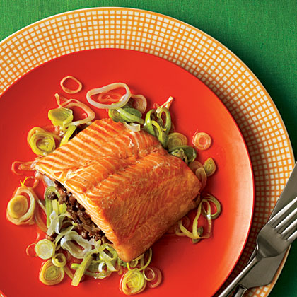 Arctic Char with Duxelles and Leeks