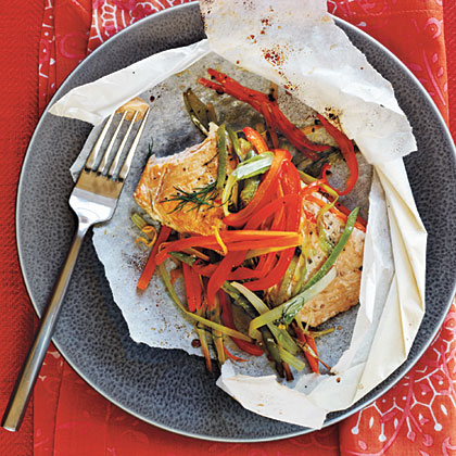 Arctic Char and Vegetables in Parchment Hearts