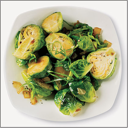 Sautéed Brussels Sprouts with Sesame, Garlic, and Ginger