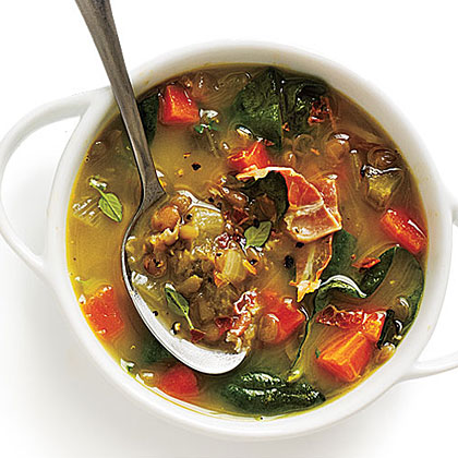 Spinach and Lentil Soup with Cheese and Basil