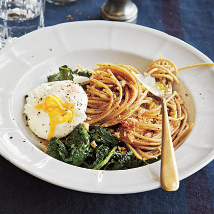Whole Wheat Spaghetti with Kale, Poached Eggs, and Toasted Breadcrumbs