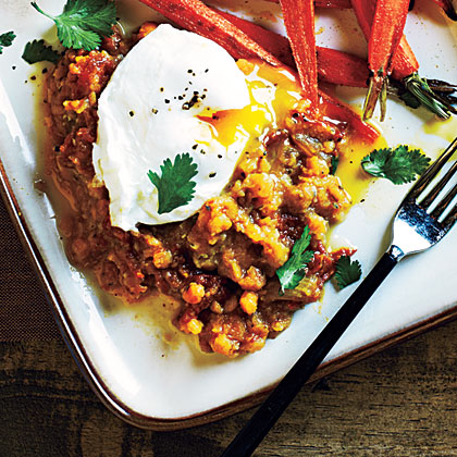 Spiced Lentils and Poached Eggs