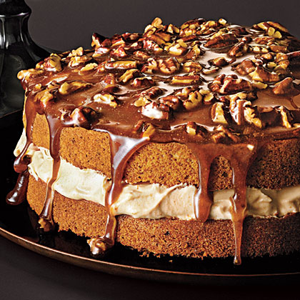 ck-Pecan Cake with Caramel Mousse and Brown Sugar Topping