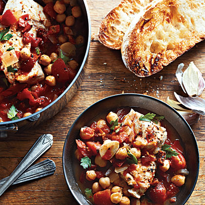 Halibut and Chorizo Stew with Garlic Toasts