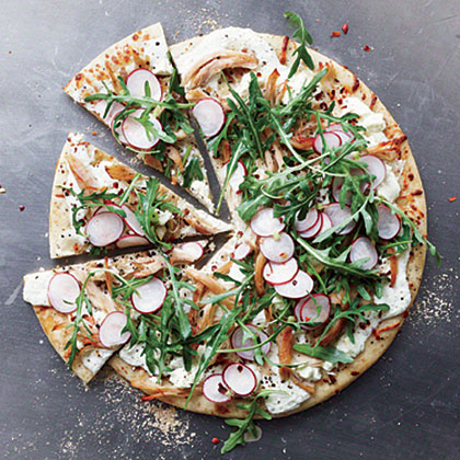 Chicken, Arugula, and Radish Pizza