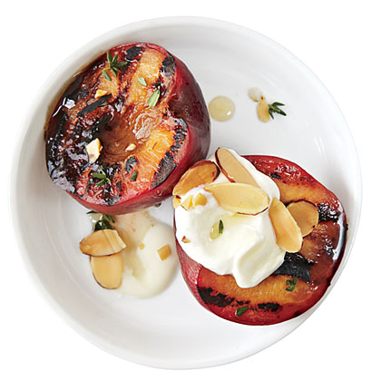 Honey Glazed Plums with Almonds and Creme Fraiche