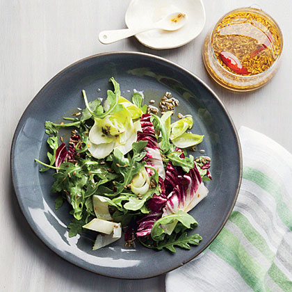 Bitter Greens Salad with Spiced Mirin Dressing