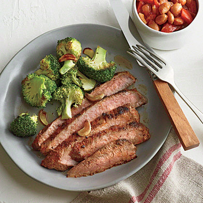 Cowboy Flank Steak with Sweet and Smoky Beans