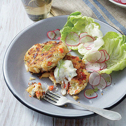 Red Pepper Crab Cakes with Lemony Mayo