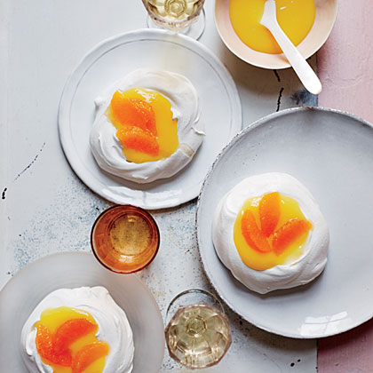 Chewy Meringues with Tangerine-Lemon Curd