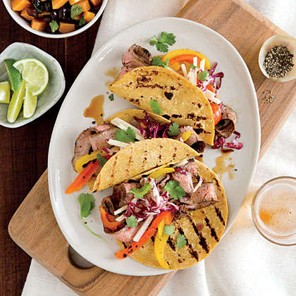 Flank Steak Tacos with Slaw