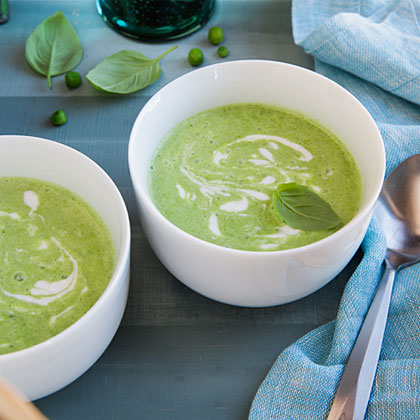 Pea Soup with Coconut Cream and Basil