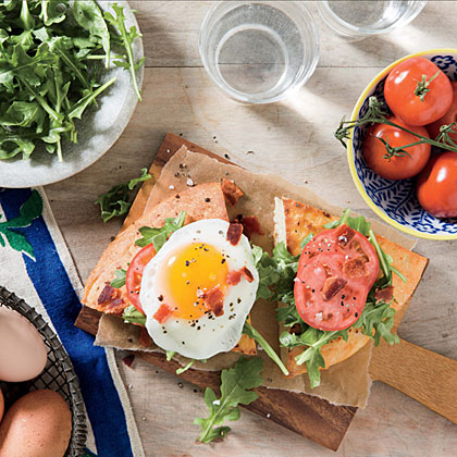 Open-Faced Fried Egg BLT Sandwiches