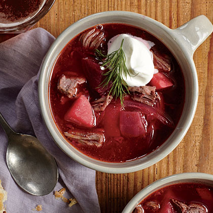 Beefy Pressure Cooker Borscht with Dill Cream