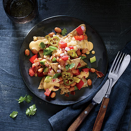 Cheesy Nachos with Pinto Bean Salsa and Pickled Jalapenos