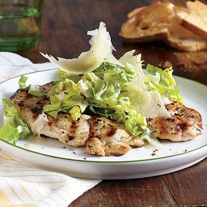 Chicken Paillards with Romaine Caesar Slaw