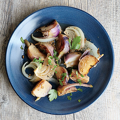 Honey-Glazed Kohlrabi with Onions and Herbs