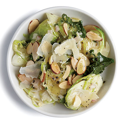 Kale and Almond Brussels Sprout Salad